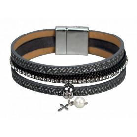 Bracelet 3 bandes simili cuir pendentif croix et perle - argenté/gris - 752660 - Uljo