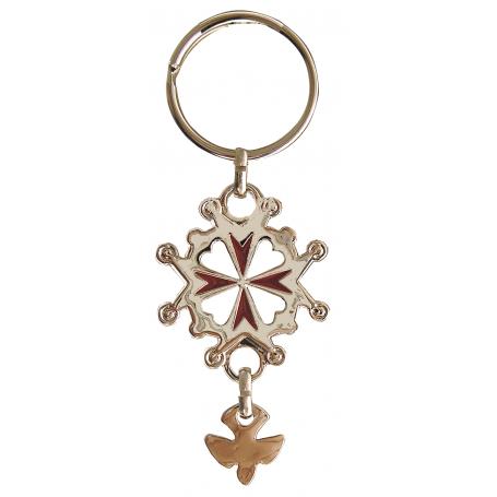 Porte clés Croix Huguenotte en métal émaillé  - 9 cm