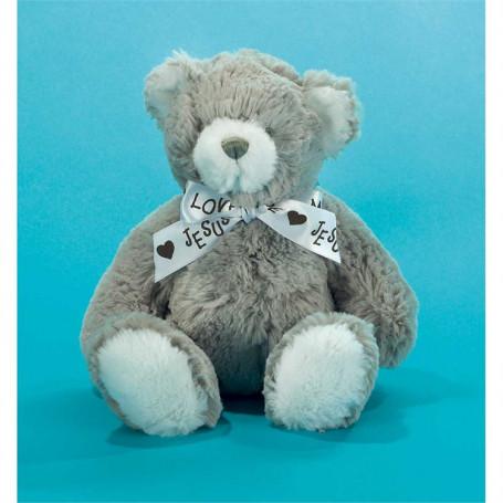 Peluche ours avec ruban Jésus Loves 27 cm - 16645