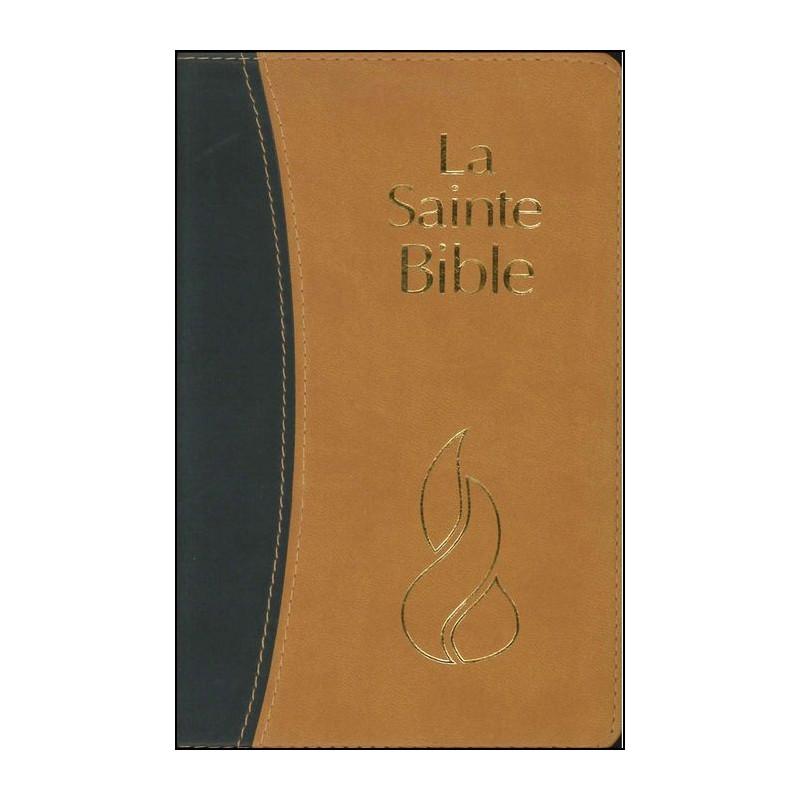 Bible NEG compacte souple PU duo ocre/anthracite tr. or