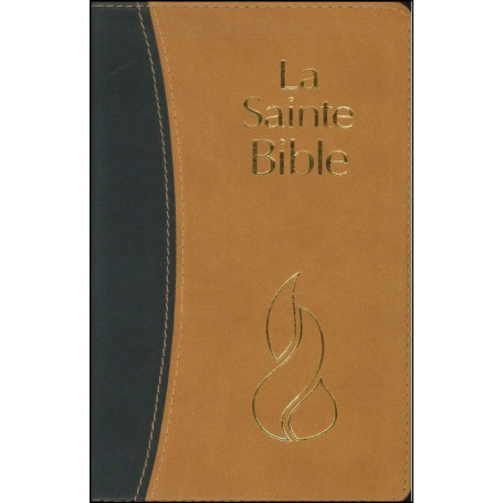 Bible NEG compacte souple PU duo ocre/anthracite tr. or