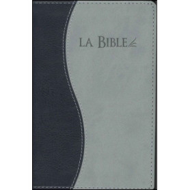 Bible Seg.21 souple similicuir duo gris/bleu tranche argent