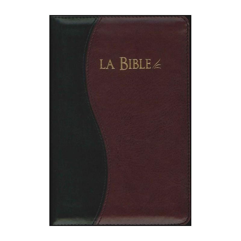 Bible Seg.21 souple similicuir duo noir/bordeaux f.éclair tr.or