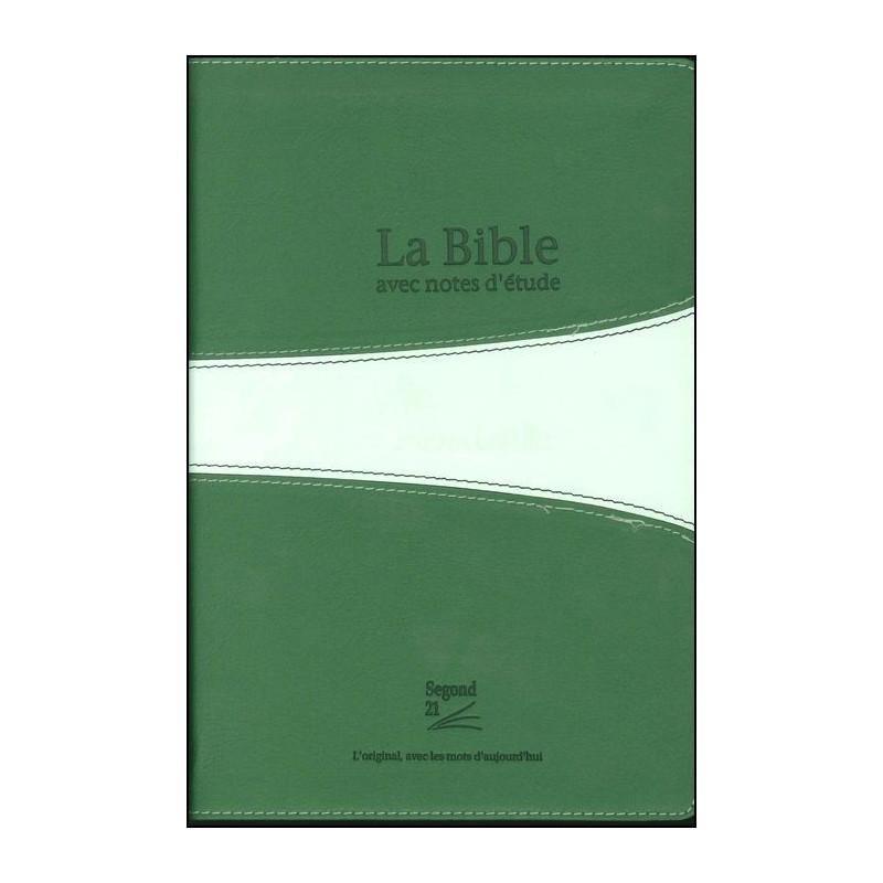 Bible Seg,21 Vie Nouvelle notes d'étude souple PU duo vert t.arg