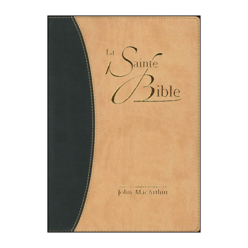 Bible NEG MacArthur souple similicuir duo bleu/beige tr. or