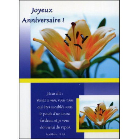 Carte simple Anniversaire Matthieu 11 : 28
