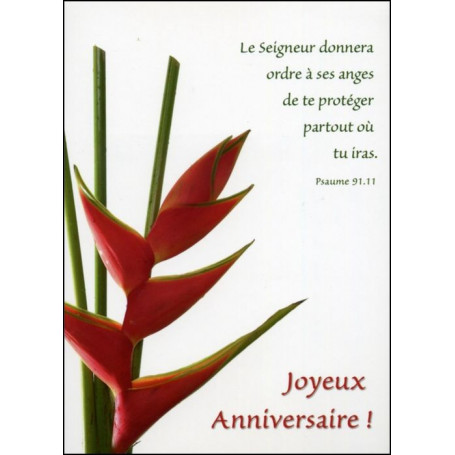 Carte simple Anniversaire Psaume 91 : 11