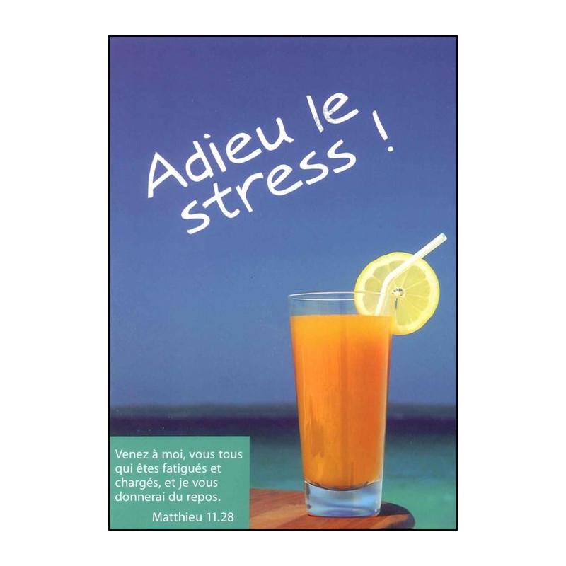 Carte simple Adieu Stress Matthieu 11 : 28
