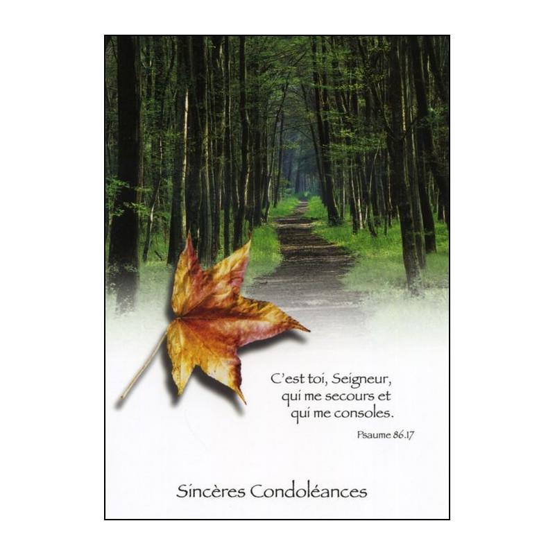 Carte double Condoléances Psaume 86 : 17