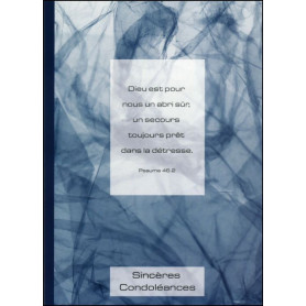 Carte double Condoléances Psaume 46 : 2