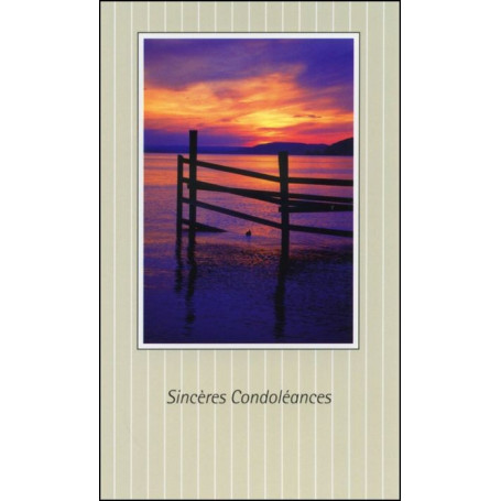 Carte double Condoléances petit format feuillet Colossiens 1:13