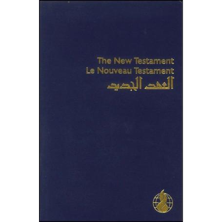 Nouveau Testament Anglais Français Arabe bleu broché
