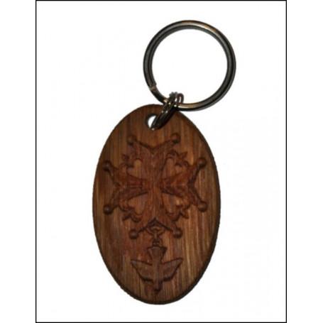 Porte-clés Croix Huguenote en bois - 6 cm