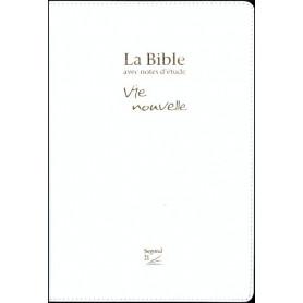 Bible Seg,21 Vie Nouvelle notes d'étude souple vivella blanc tr.or avec boitier
