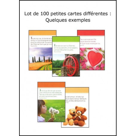 Lot de 100 petites cartes assorties fond divers - 34502