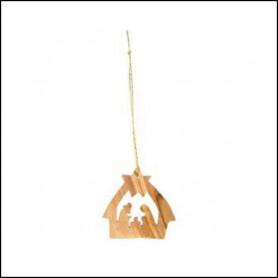 Crèche en bois à suspendre – décoration de Noël