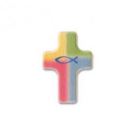 Petite croix en bois en couleur + ichthus