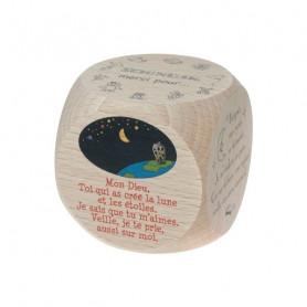 Mini dé en bois Prières du soir - 72558 - 5x5 cm - Uljo