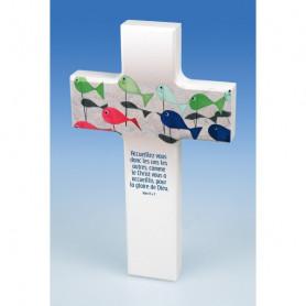 Croix en bois mot d'ordre 2015 Rom 15.7 – 74151 - Uljo