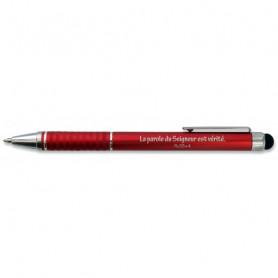 Stylo métal rouge avec embout tactile Psaume 33.4 - 71484 - Uljo