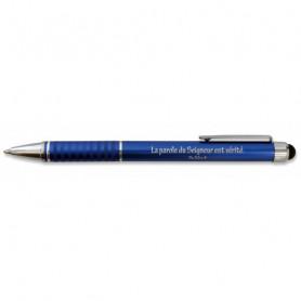 Stylo métal bleu avec embout tactile Psaume 33.4 - 71849