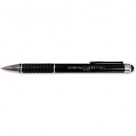 Stylo métal noir avec embout tactile Psaume 33.4 - 71850 - Uljo